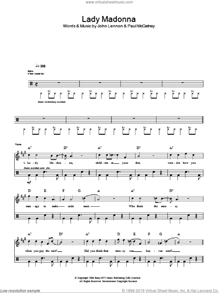 Lady Madonna sheet music for voice and other instruments (fake book) by The Beatles, Paul McCartney and John Lennon, intermediate. Score Image Preview.