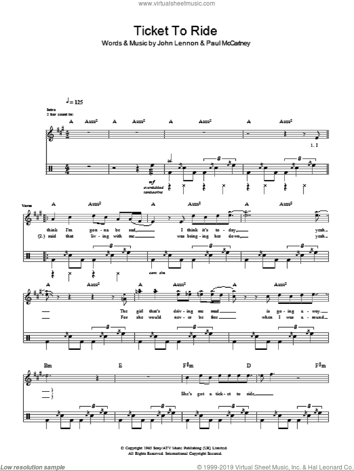 Ticket To Ride sheet music for voice and other instruments (fake book) by The Beatles, John Lennon and Paul McCartney, intermediate skill level