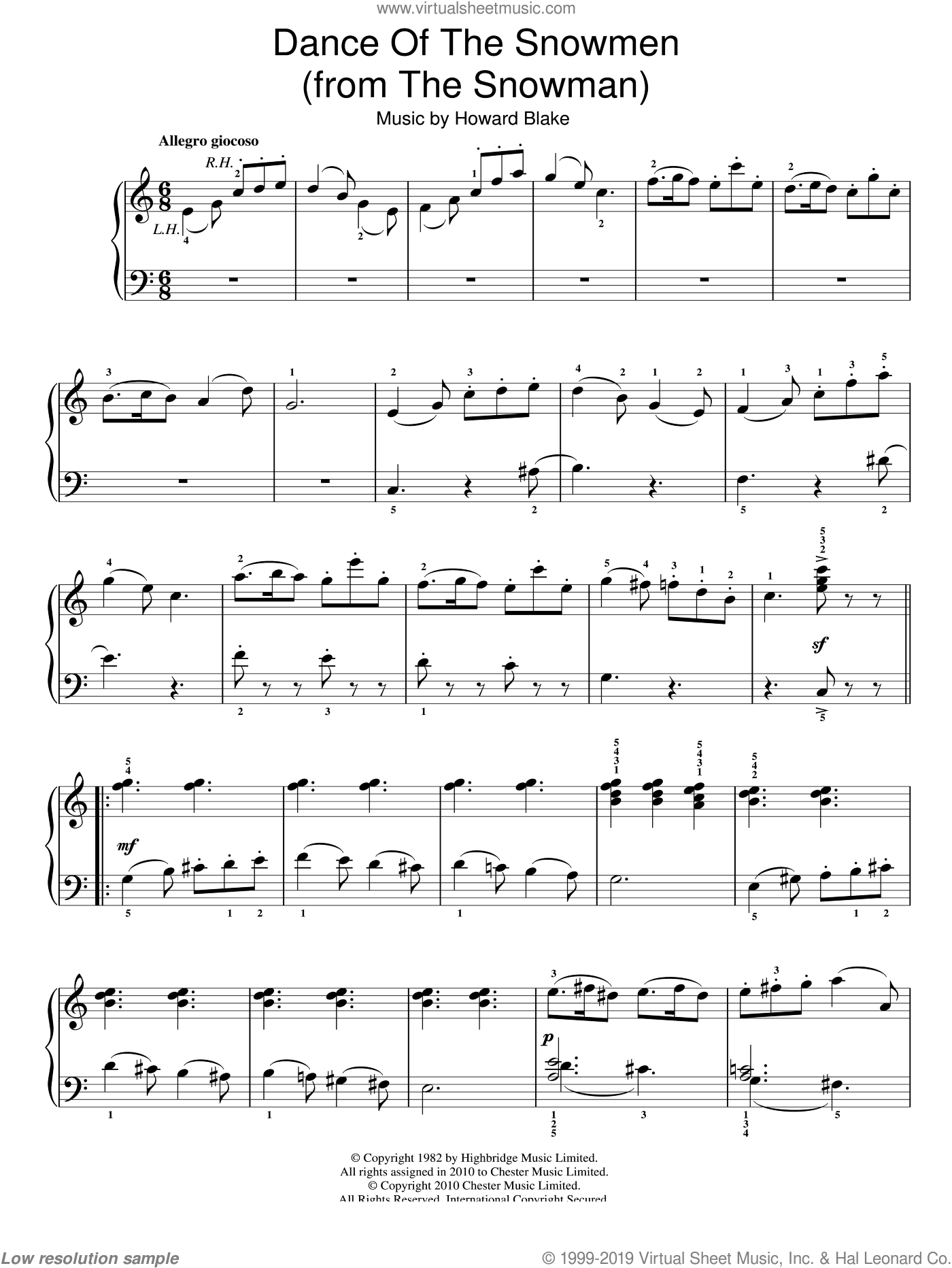 Dance Of The Snowmen sheet music for piano solo by Howard Blake and The Snowman (Movie), easy skill level