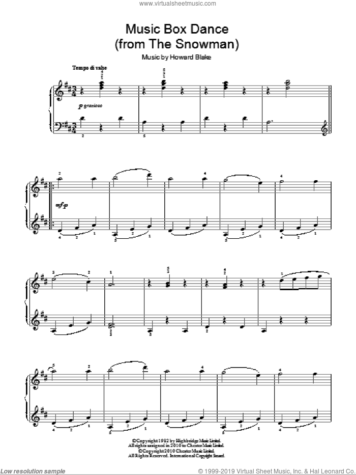 Music Box Dance sheet music for piano solo by Howard Blake and The Snowman (Movie), easy skill level