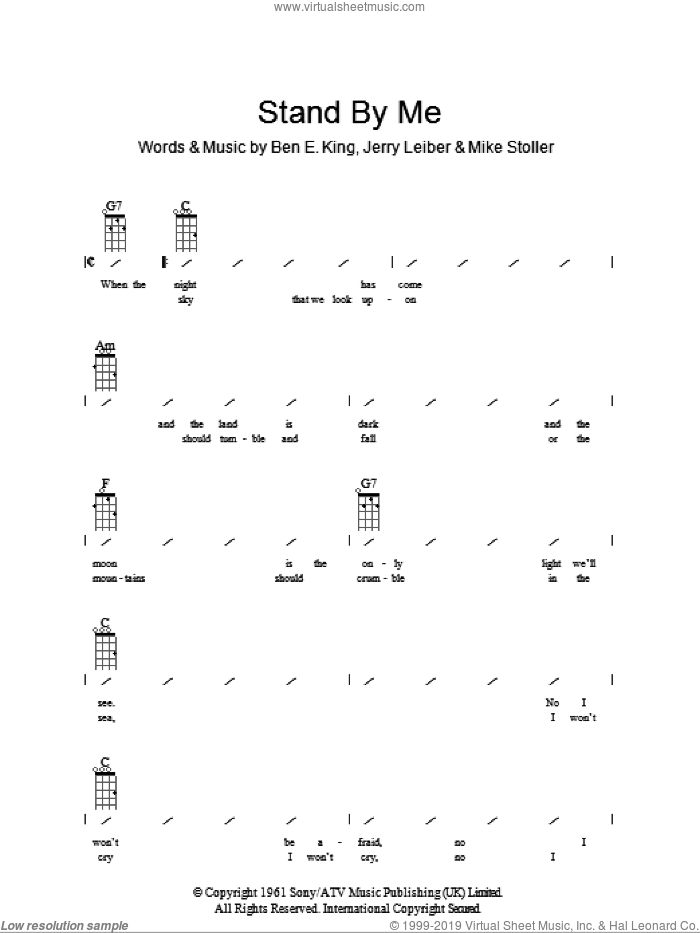 Stand By Me sheet music for ukulele (chords) by Mike Stoller, Ben E. King and Jerry Leiber. Score Image Preview.