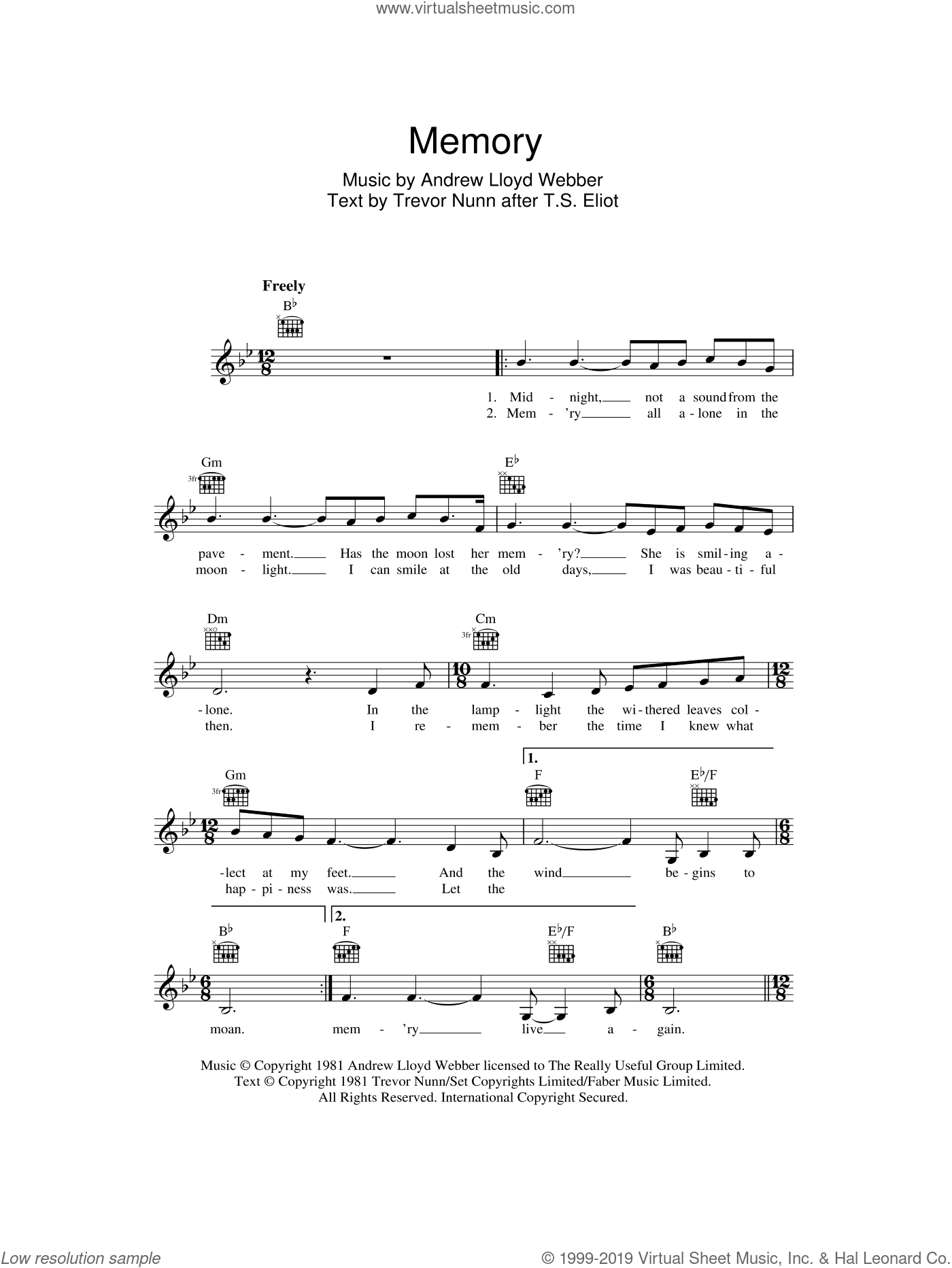 Memory (from Cats) sheet music for voice and other instruments (fake book) by Andrew Lloyd Webber and Trevor Nunn, intermediate skill level