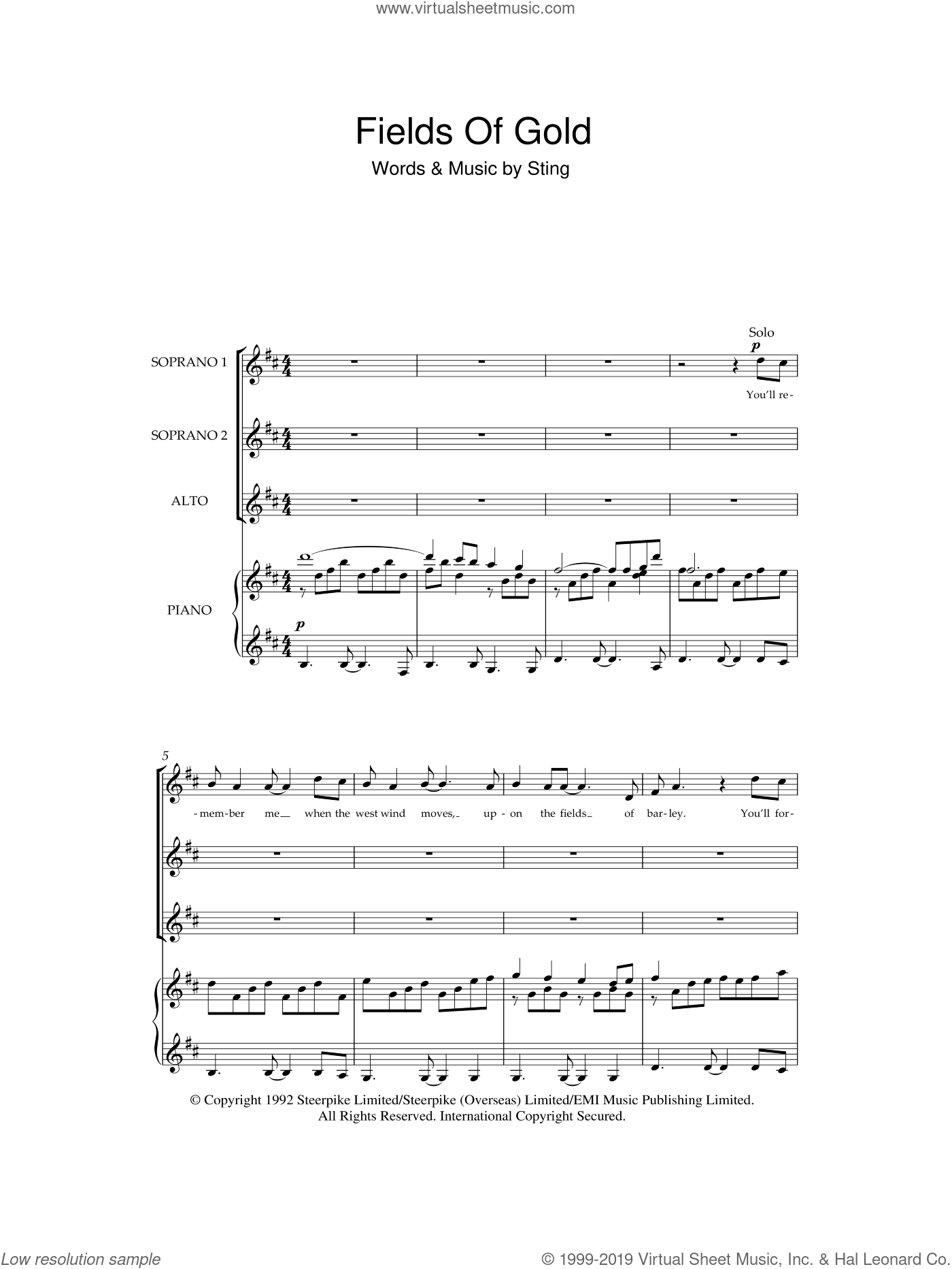 Fields Of Gold sheet music for choir (soprano voice, alto voice, choir) by Sting. Score Image Preview.