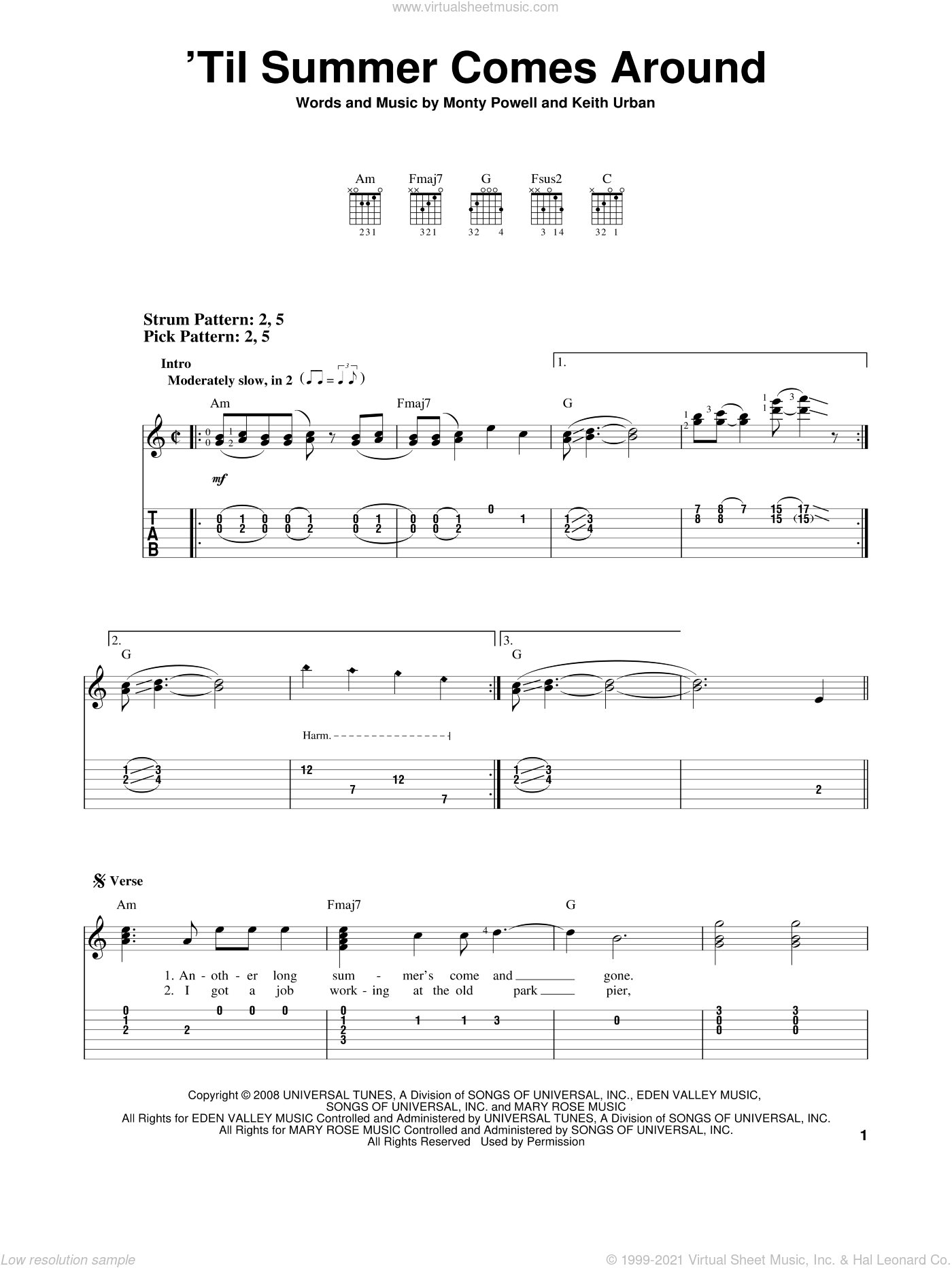 'Til Summer Comes Around sheet music for guitar solo (easy tablature) by Keith Urban and Monty Powell. Score Image Preview.
