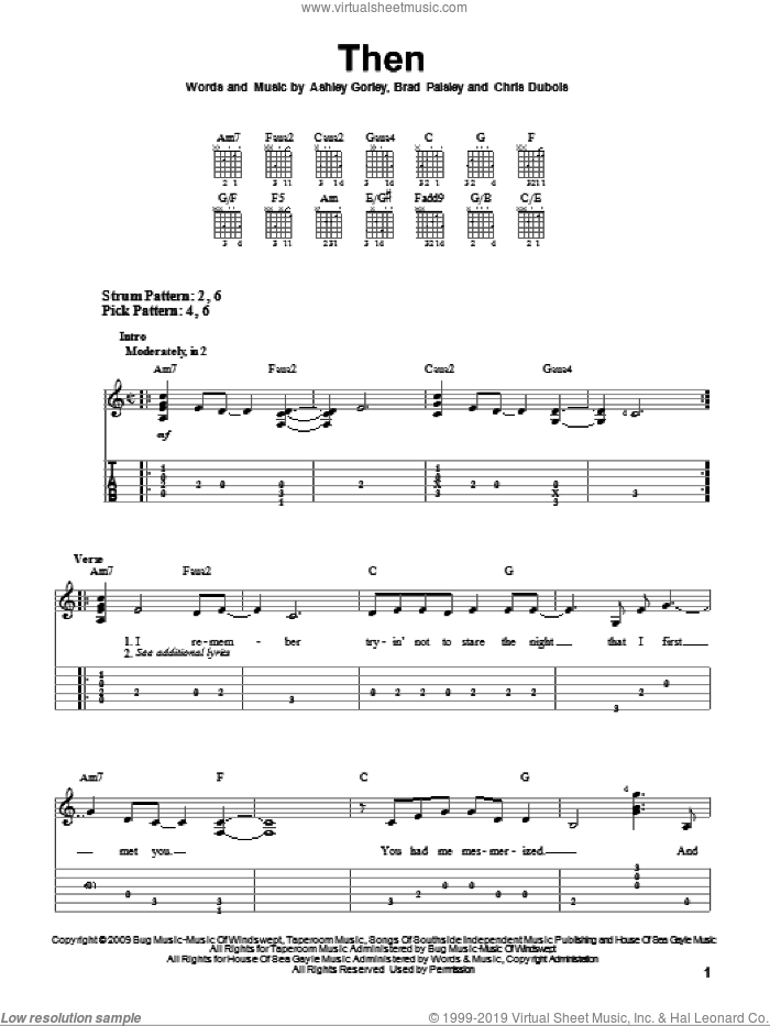 Then sheet music for guitar solo (easy tablature) by Chris DuBois, Ashley Gorley and Brad Paisley. Score Image Preview.