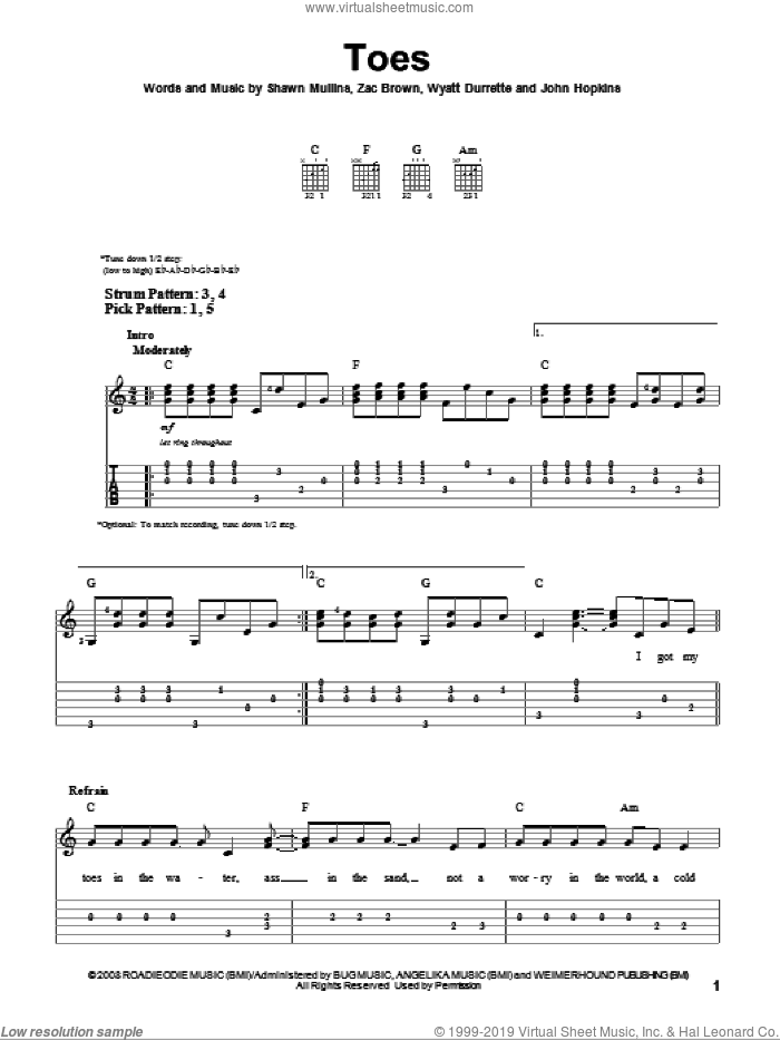 Toes sheet music for guitar solo (easy tablature) by Zac Brown Band and Shawn Mullins. Score Image Preview.