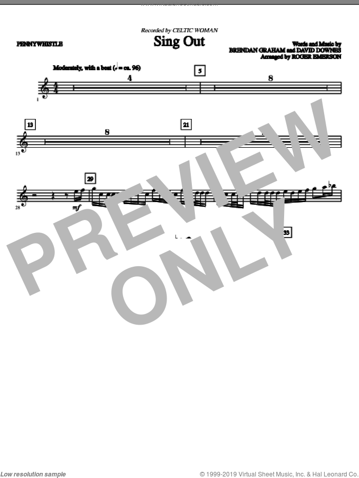 Sing Out (complete set of parts) sheet music for orchestra/band by Brendan Graham, David Downes, Celtic Woman and Roger Emerson, intermediate skill level
