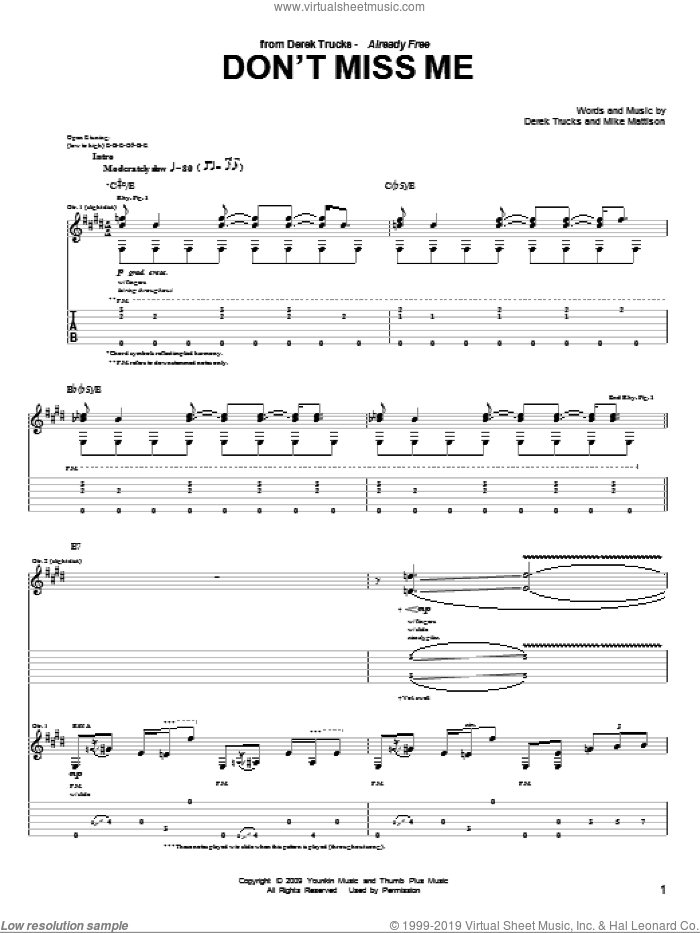Don't Miss Me sheet music for guitar (tablature) by The Derek Trucks Band and Derek Trucks, intermediate guitar (tablature). Score Image Preview.