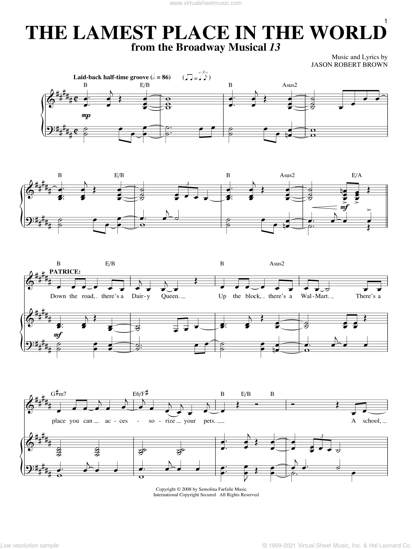 The Lamest Place In The World sheet music for voice and piano by Jason Robert Brown and 13: The Musical, intermediate skill level