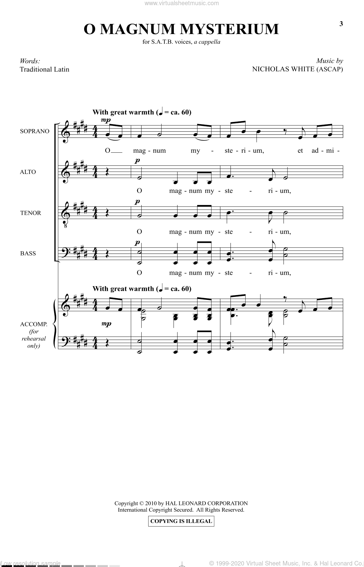 O Magnum Mysterium sheet music for choir (SATB: soprano, alto, tenor, bass) by Nicholas White, intermediate skill level