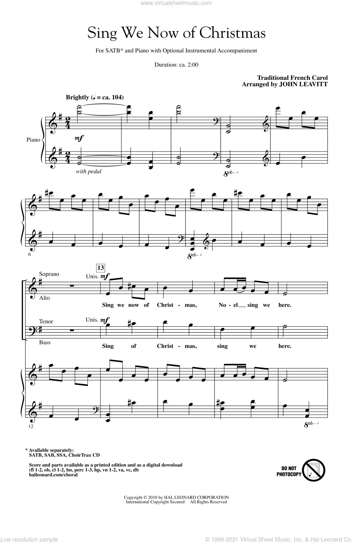 Sing We Now Of Christmas sheet music for choir (SATB: soprano, alto, tenor, bass) by John Leavitt and Miscellaneous, intermediate skill level