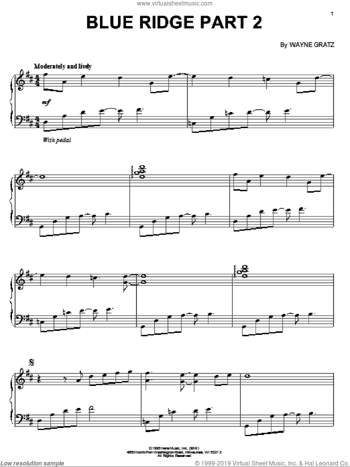 Blue Ridge Part 2 sheet music for piano solo by Wayne Gratz. Score Image Preview.