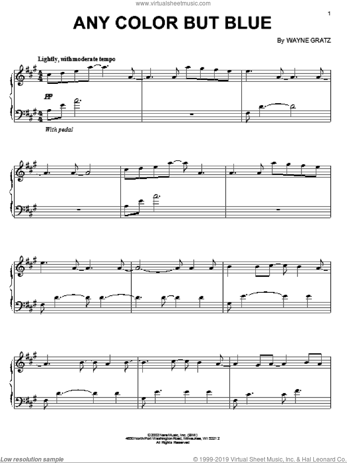 Any Color But Blue sheet music for piano solo by Wayne Gratz, intermediate skill level