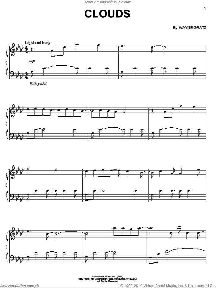 Clouds sheet music for piano solo by Wayne Gratz