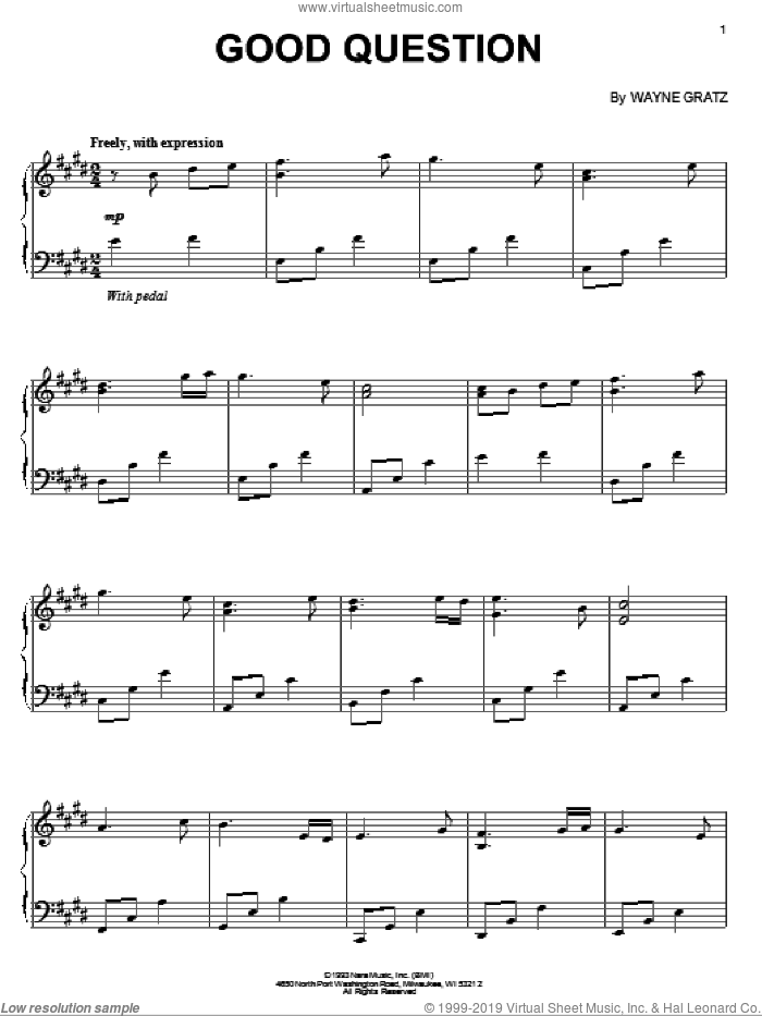 Good Question sheet music for piano solo by Wayne Gratz, intermediate skill level