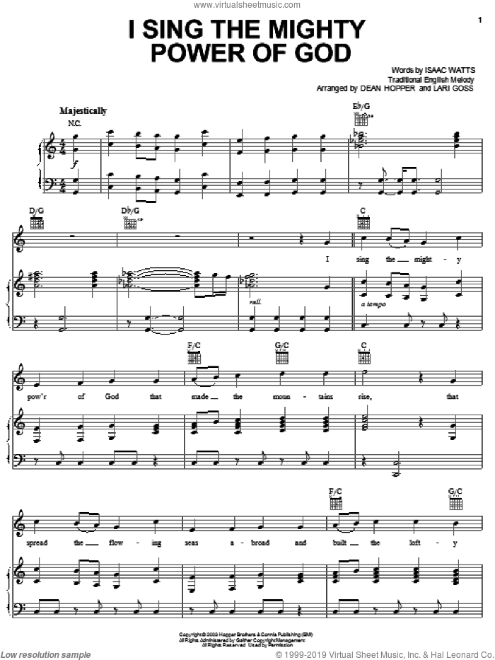 I Sing The Mighty Power Of God sheet music for voice, piano or guitar by The Hoppers, Isaac Watts, Miscellaneous and Ralph Vaughan Williams. Score Image Preview.
