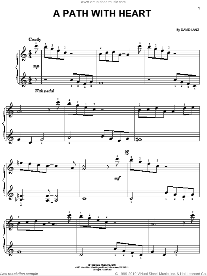 A Path With Heart sheet music for piano solo by David Lanz, easy skill level