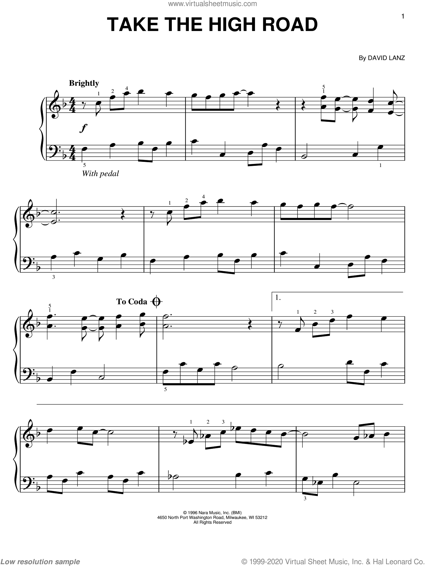 Take The High Road sheet music for piano solo by David Lanz, easy skill level