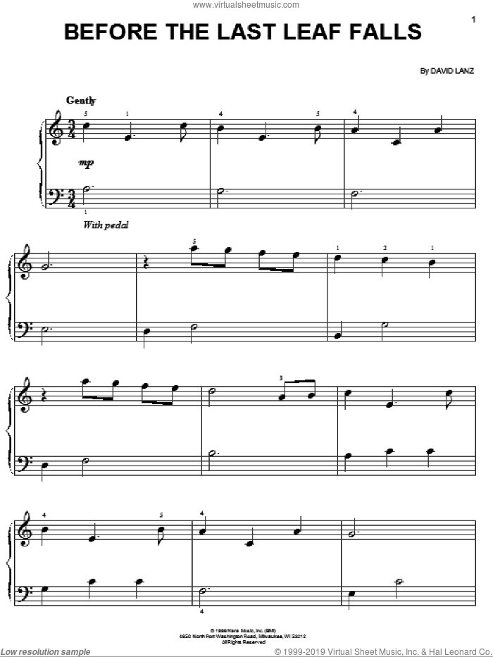 Before The Last Leaf Falls sheet music for piano solo by David Lanz, easy skill level