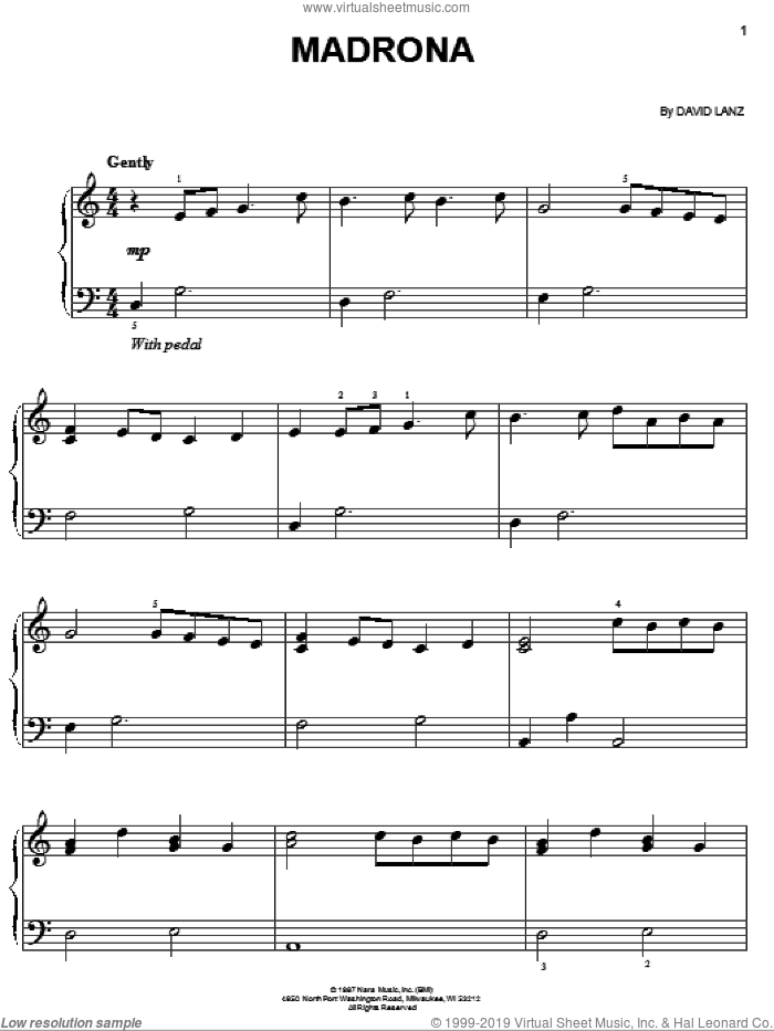 Madrona sheet music for piano solo by David Lanz, easy. Score Image Preview.