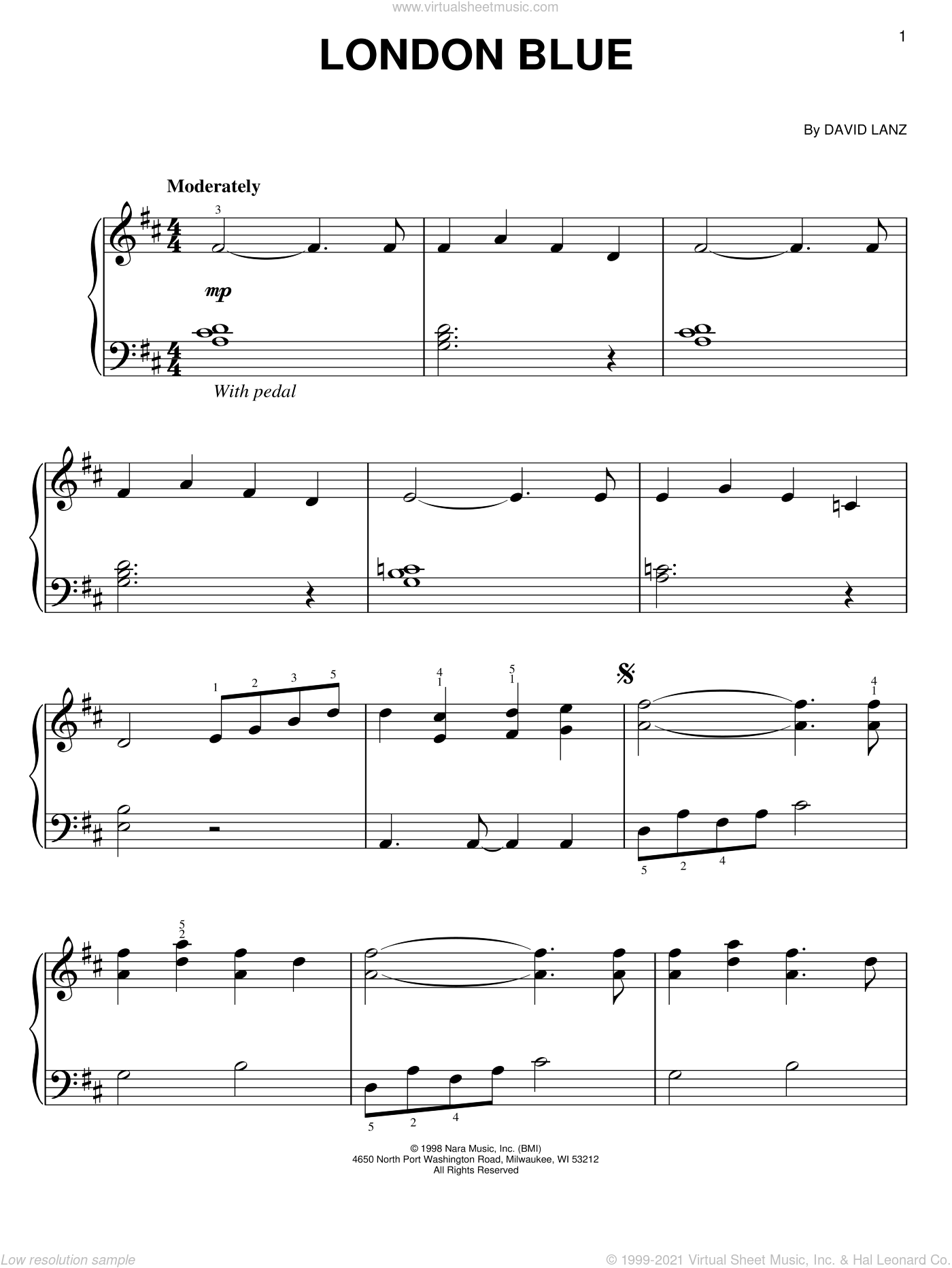 London Blue sheet music for piano solo by David Lanz, easy skill level