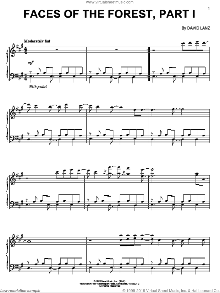 Faces Of The Forest, Part 1 sheet music for piano solo by David Lanz, intermediate skill level