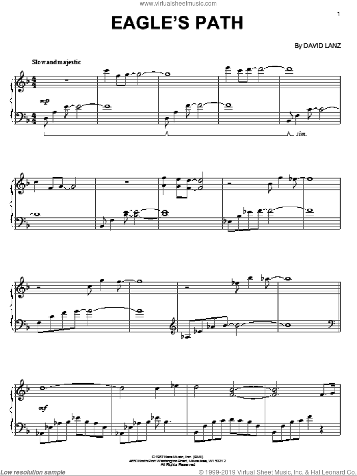 Eagle's Path sheet music for piano solo by David Lanz, intermediate. Score Image Preview.