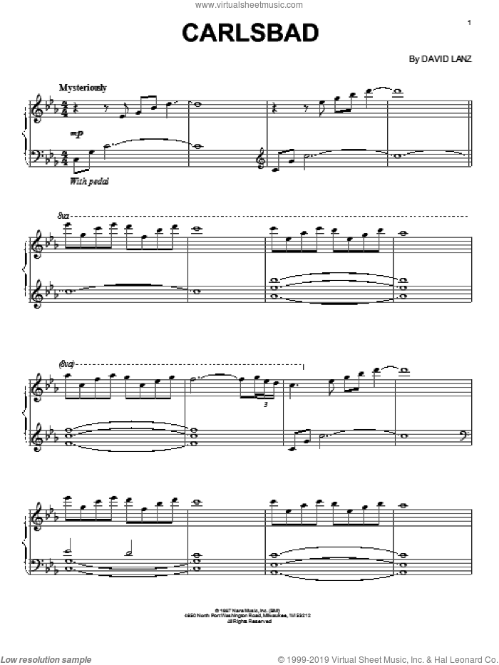 Carlsbad sheet music for piano solo by David Lanz. Score Image Preview.