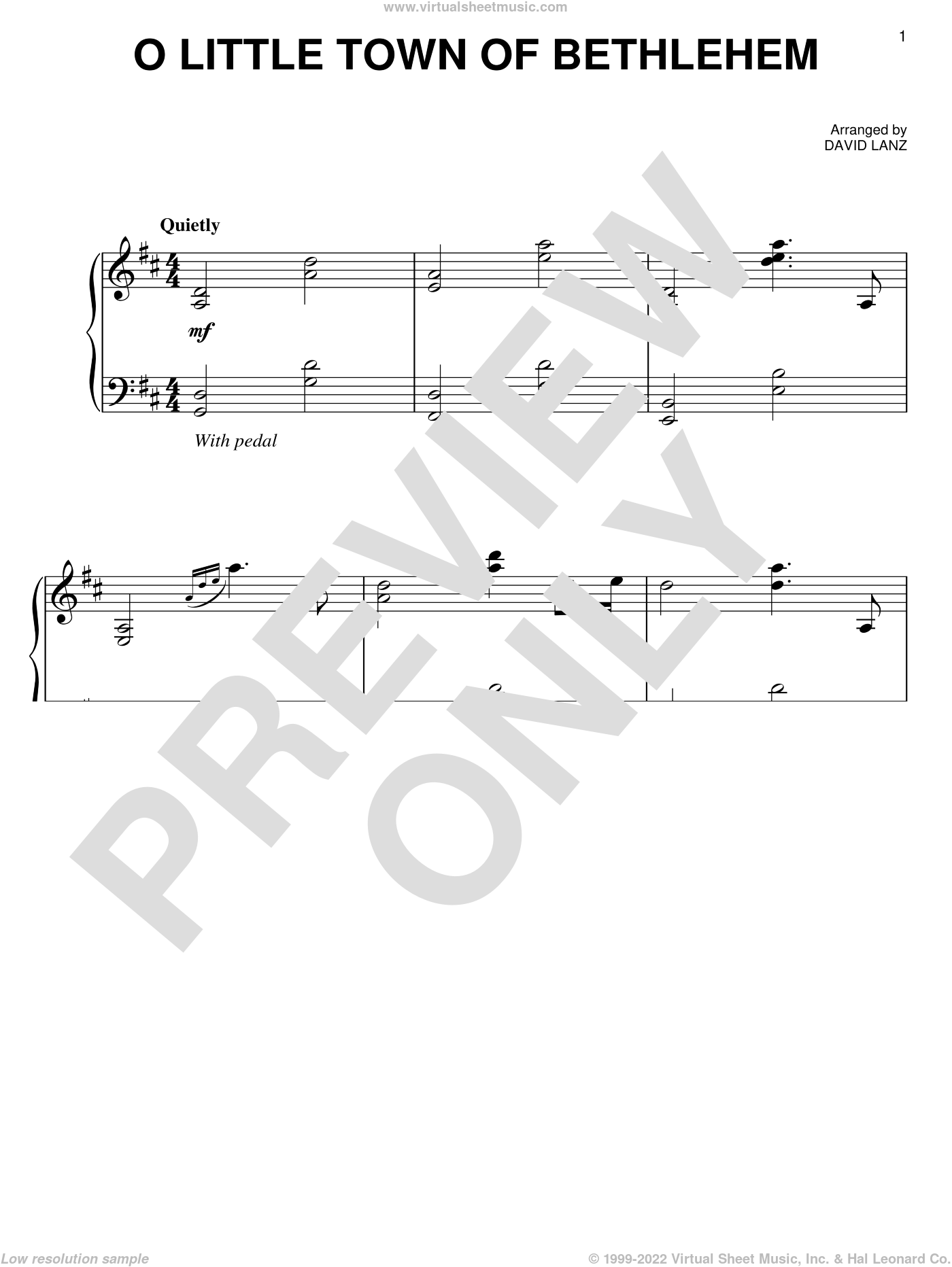 O Little Town Of Bethlehem sheet music for piano solo by David Lanz. Score Image Preview.