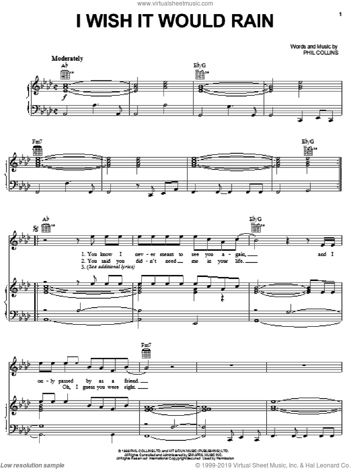 I Wish It Would Rain sheet music for voice, piano or guitar by Phil Collins, intermediate skill level