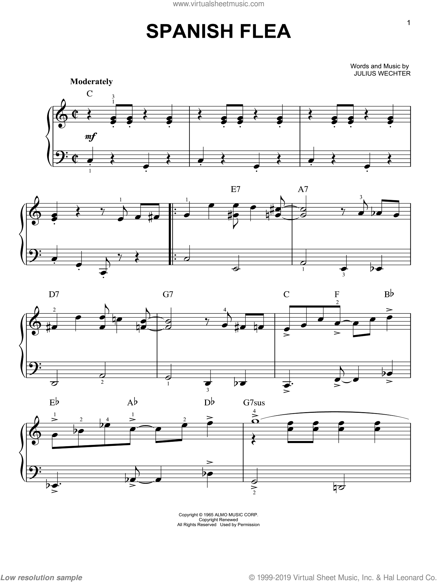 Spanish Flea sheet music for piano solo by Herb Alpert & The Tijuana Brass, Herb Alpert and Julius Wechter, easy skill level