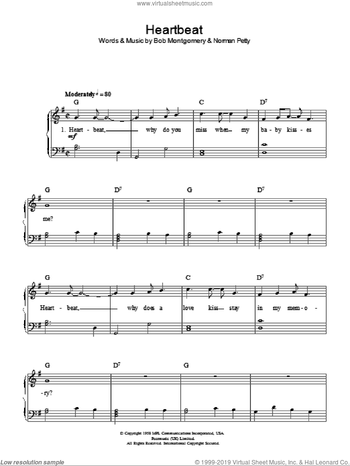 Heartbeat, (easy) sheet music for piano solo by Buddy Holly, Bob Montgomery and Norman Petty, easy skill level