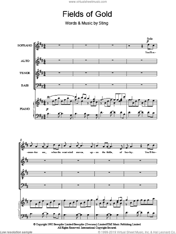 Fields Of Gold sheet music for choir (SATB) by Sting. Score Image Preview.