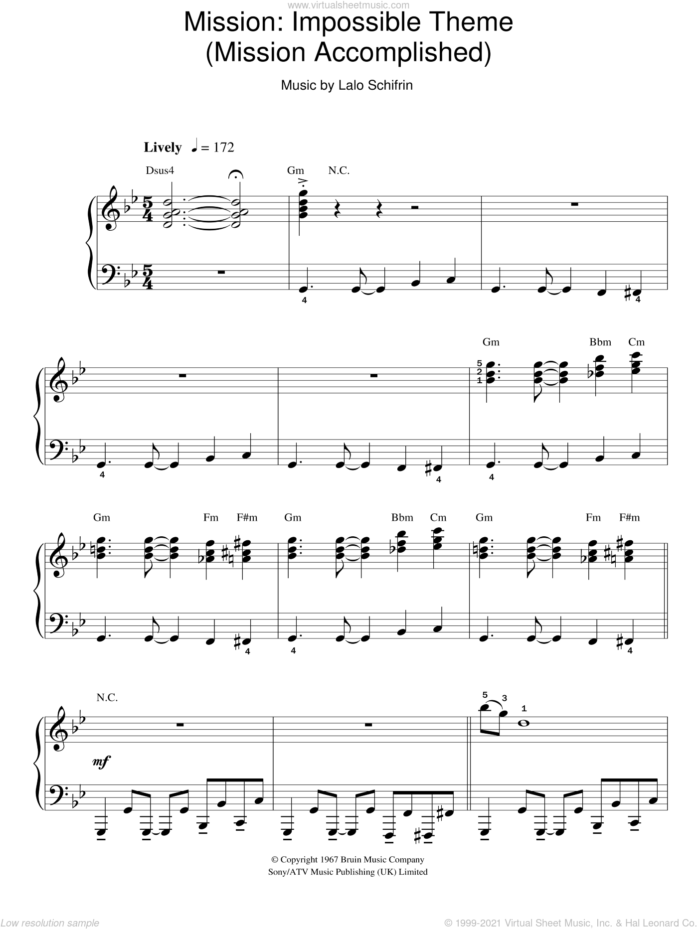 Mission: Impossible Theme sheet music for piano solo by Lalo Schifrin, easy. Score Image Preview.
