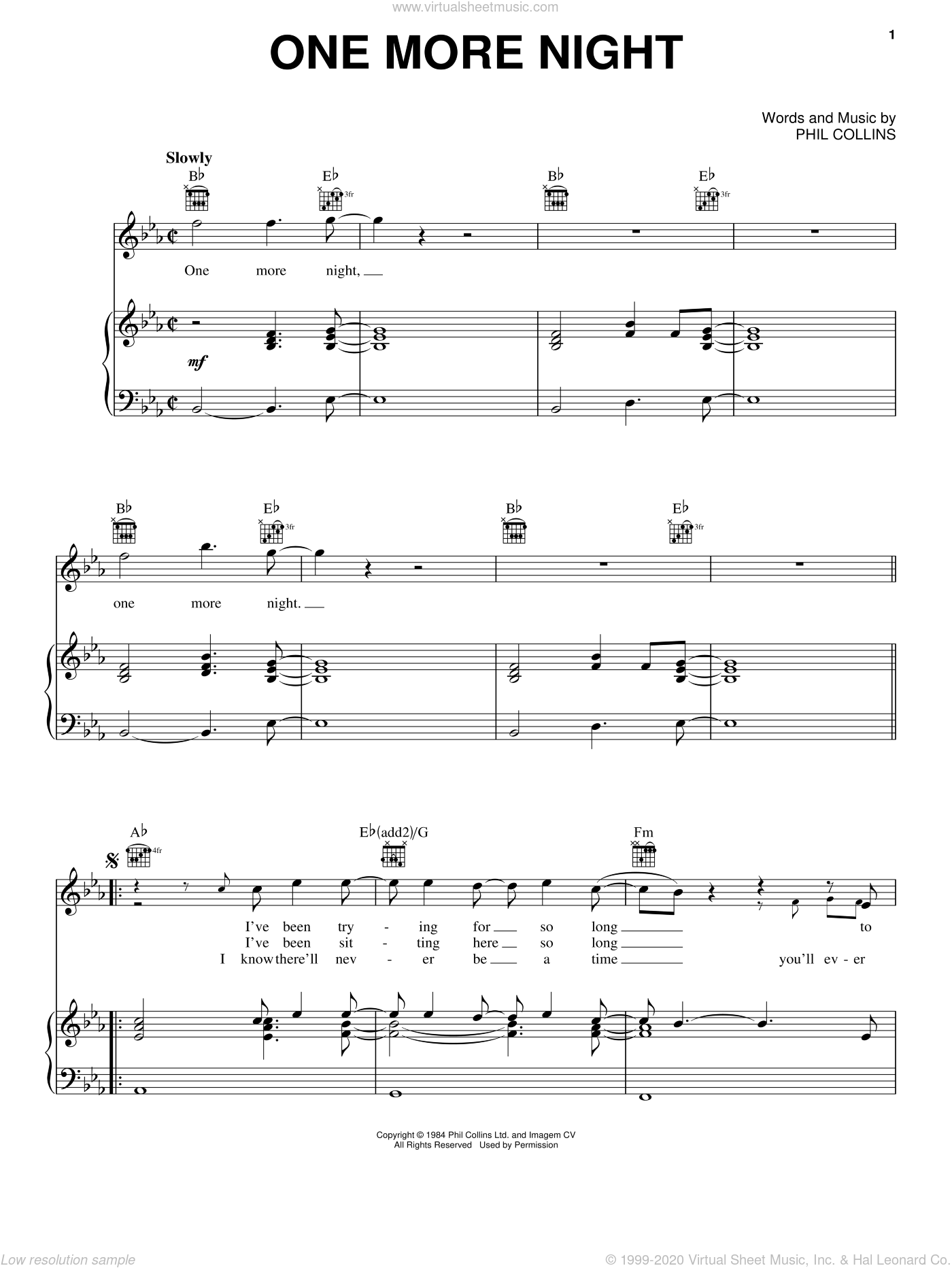 One More Night sheet music for voice, piano or guitar by Phil Collins, intermediate skill level