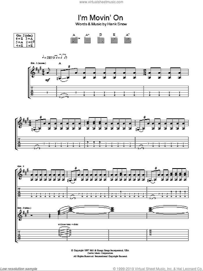 I'm Moving On sheet music for guitar (tablature) by Taste and Hank Snow. Score Image Preview.