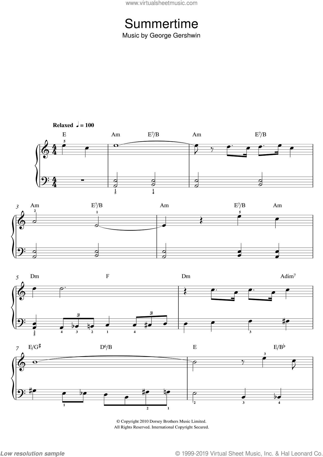 Summertime sheet music for piano solo by George Gershwin, easy skill level