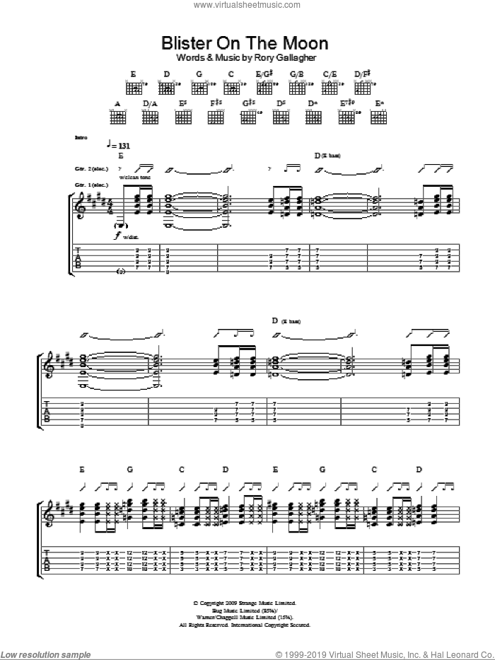 Blister On The Moon sheet music for guitar (tablature) by Taste and Rory Gallagher. Score Image Preview.