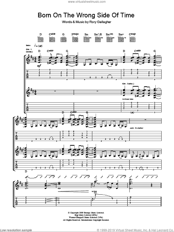 Born On The Wrong Side Of Time sheet music for guitar (tablature) by Taste and Rory Gallagher. Score Image Preview.