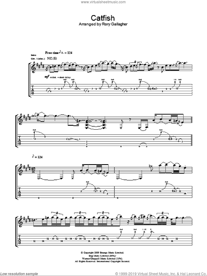 Catfish sheet music for guitar (tablature) by Taste, Rory Gallagher and Miscellaneous. Score Image Preview.
