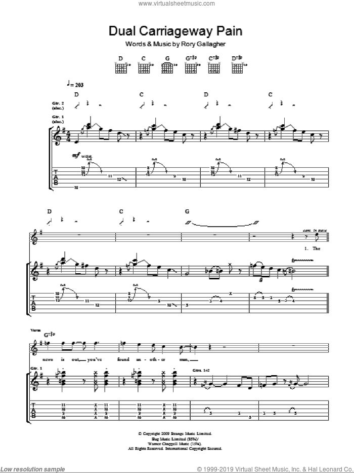 Dual Carriage Way Pain sheet music for guitar (tablature) by Taste and Rory Gallagher. Score Image Preview.