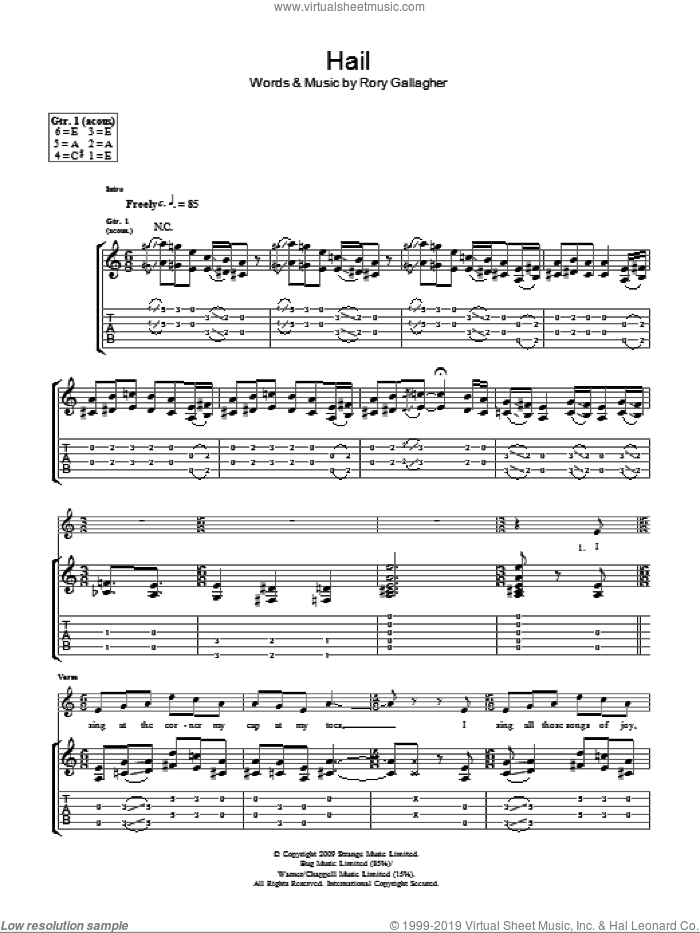 Hail sheet music for guitar (tablature) by Taste and Rory Gallagher, intermediate guitar (tablature). Score Image Preview.
