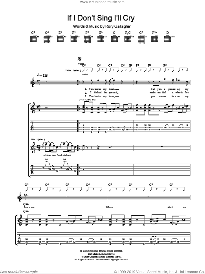 If I Don't Sing I'll Cry sheet music for guitar (tablature) by Taste and Rory Gallagher, intermediate guitar (tablature). Score Image Preview.