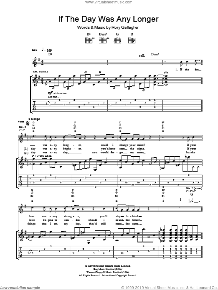If The Day Was Any Longer sheet music for guitar (tablature) by Taste and Rory Gallagher. Score Image Preview.