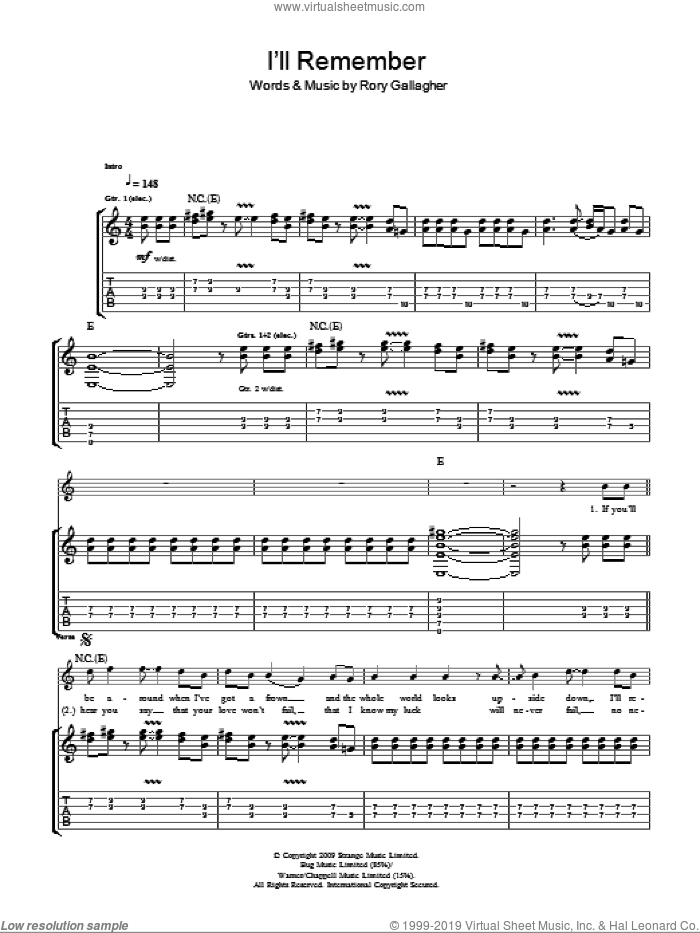 I'll Remember sheet music for guitar (tablature) by Taste and Rory Gallagher. Score Image Preview.