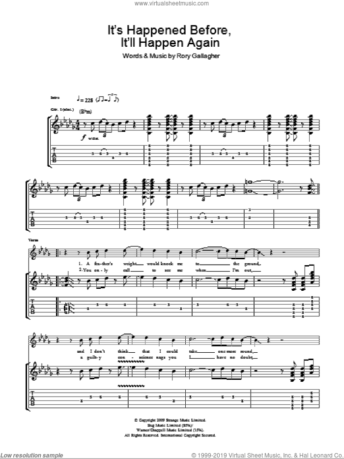 It's Happened Before, It'll Happen Again sheet music for guitar (tablature) by Taste and Rory Gallagher, intermediate guitar (tablature). Score Image Preview.