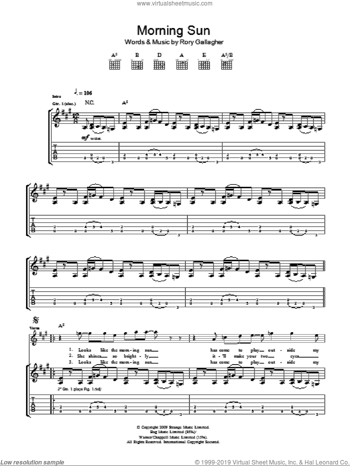 Morning Sun sheet music for guitar (tablature) by Taste and Rory Gallagher. Score Image Preview.