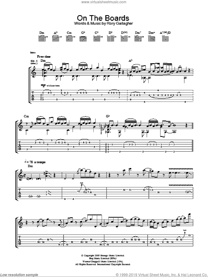 On The Boards sheet music for guitar (tablature) by Taste and Rory Gallagher, intermediate skill level