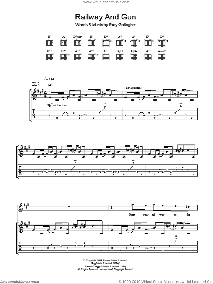 Railway And Gun sheet music for guitar (tablature) by Taste and Rory Gallagher. Score Image Preview.