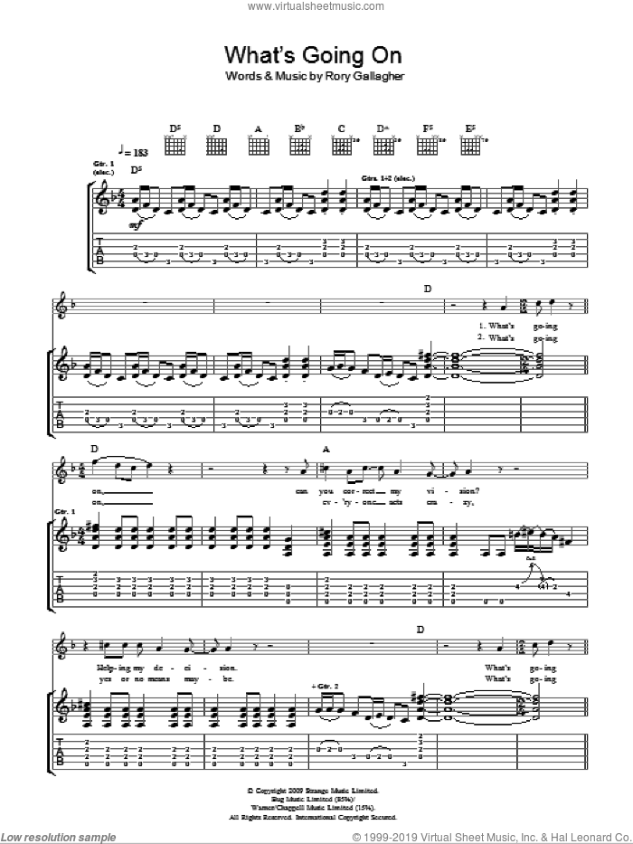 What's Going On sheet music for guitar (tablature) by Taste and Rory Gallagher, intermediate skill level